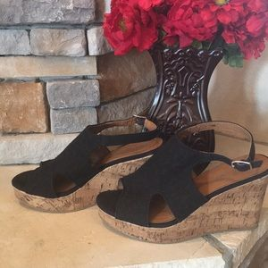 Shoes - Black Lace Wedge